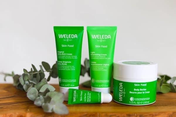 Four Weleda Skin Food products next to Eucalyptus