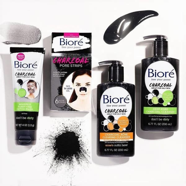 Collage of four Biore Charcoal skin products