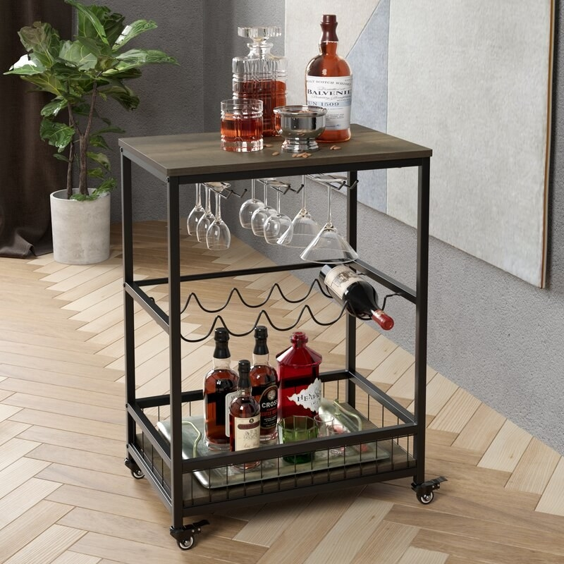 Bar cart in living room