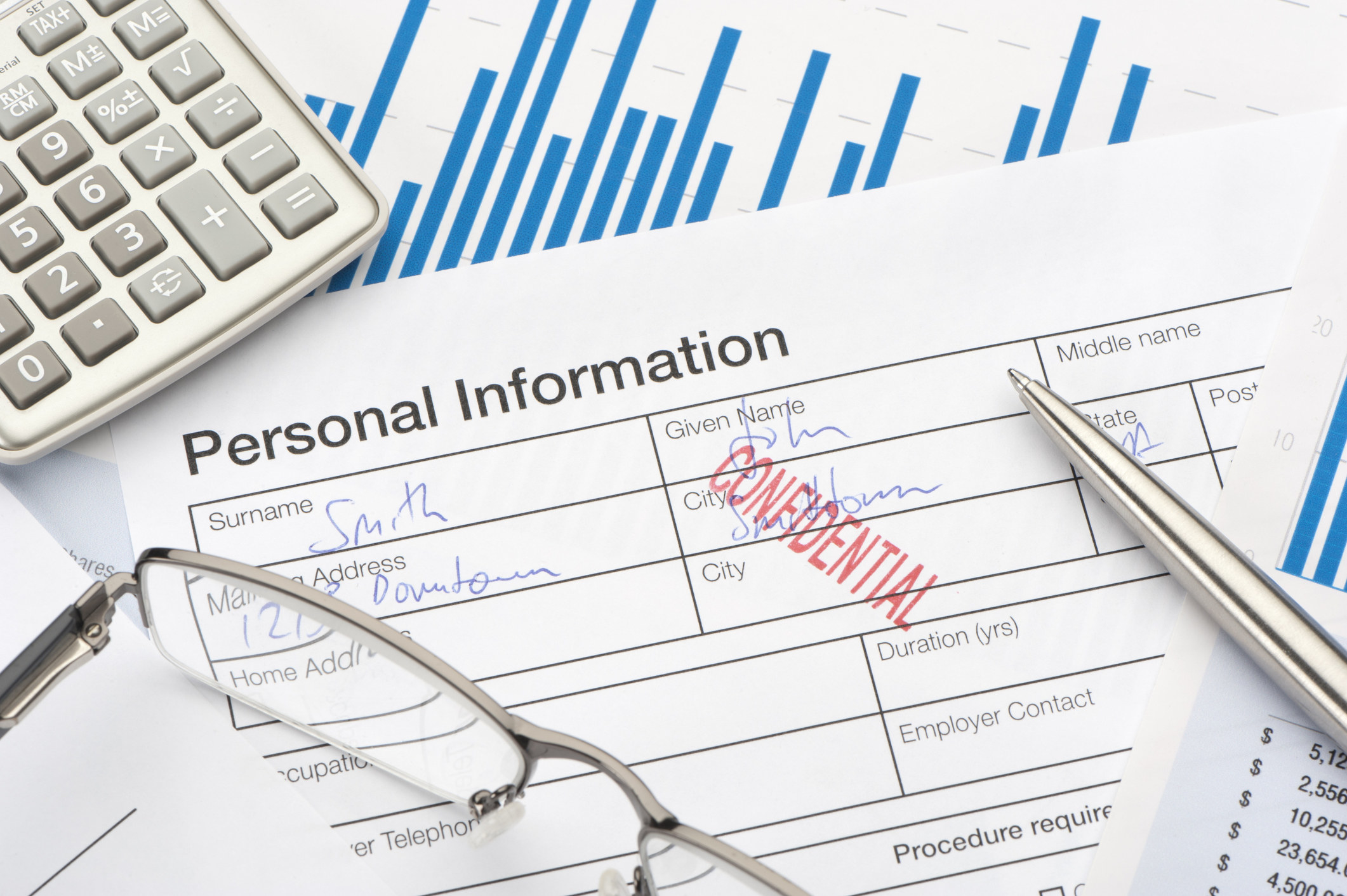 Personal information form stamped confidential