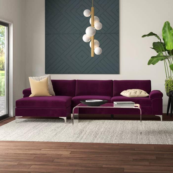The velvet left facing sofa in purple