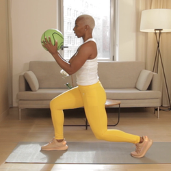 Model uses the medicine ball to do a training session