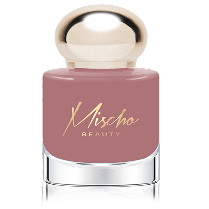 The pink polish in a clear bottle with round gold cap