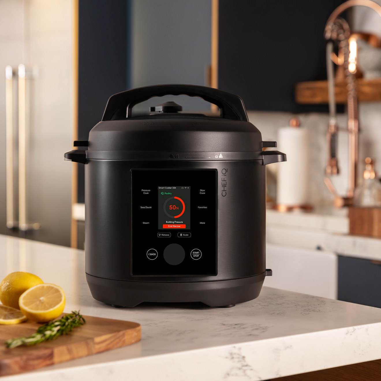 The black pressure cooker with digital screen
