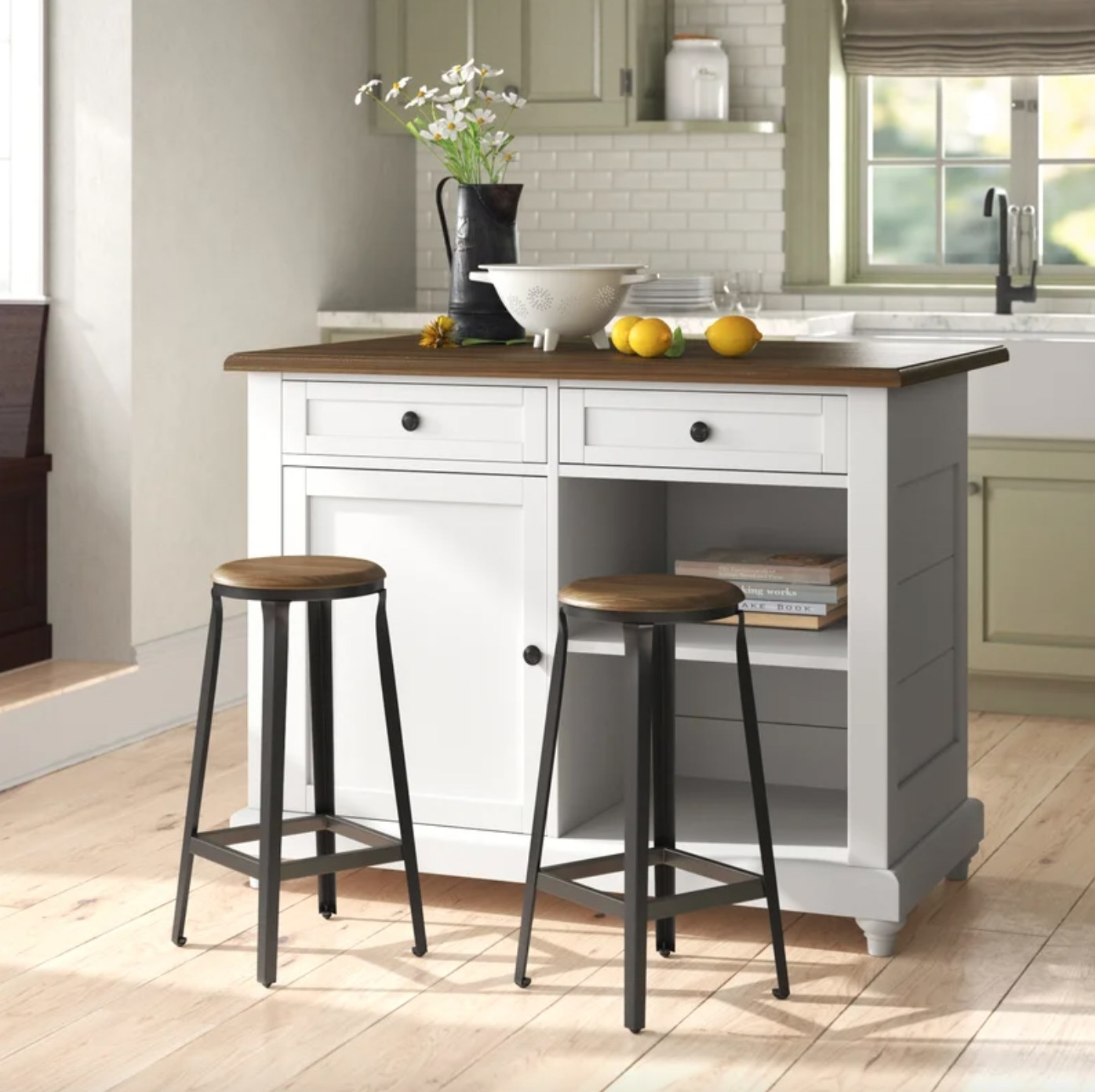 The kitchen island with a manufactured wood top in white