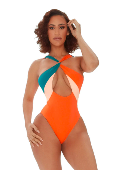 orange one piece with cut out center with one teal strap and one orange strap and light orange triangles in the chest area