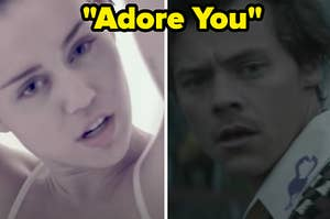 """Miley Cyrus is on the left with Harry Styles on the right labeled, """"Adore You"""""""