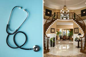 On the left, a stethoscope, and on the right, the entryway of a fancy home with a double staircase that meets in the middle, marble floors, and a chandelier