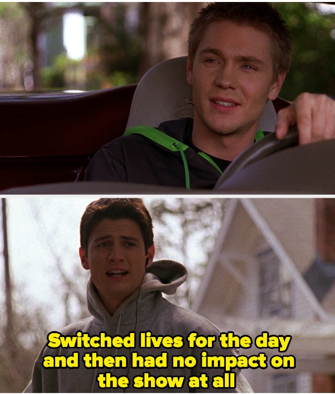 "Lucas almost hitting Nathan with his car in ""One Tree Hill"""