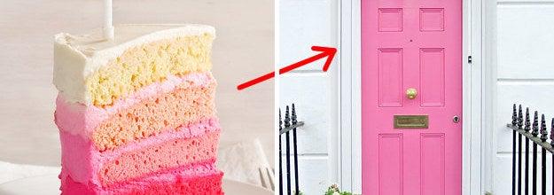 Pink cake and pink door