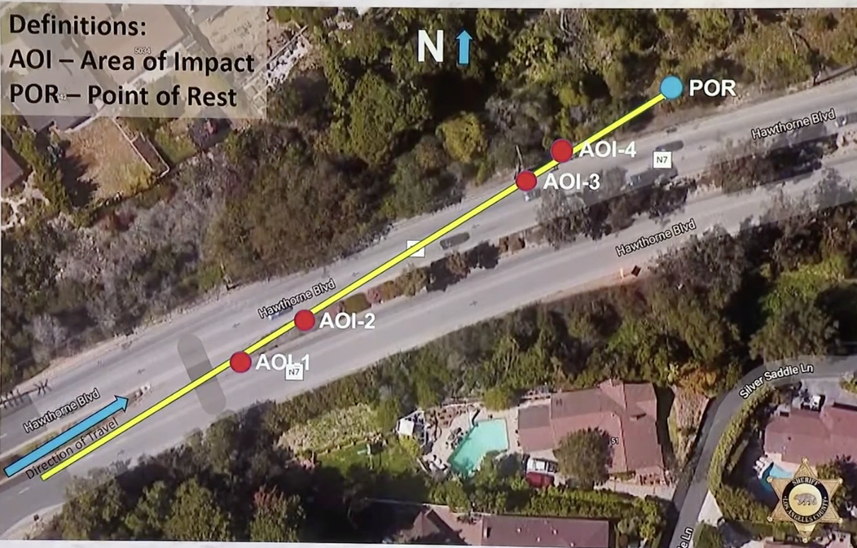 """An aerial view of the site of the crash shows """"areas of impact"""" and """"point of rest"""" where the SUV drove through opposing lanes of traffic"""