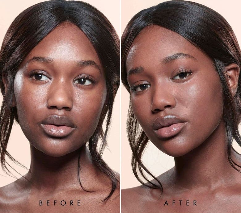 A model with no foundation / the same model wearing shade 14 with more even skin