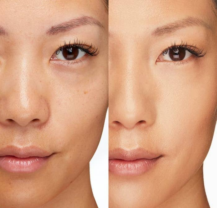 A model without the product / a model after applying the product in Almond with blemishes covered