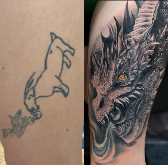 A tattoo outline of a goat smoking and huge cover-up of a dragon