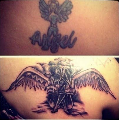 A poorly done tattoo of an angel and a beautiful cover-up of an angel