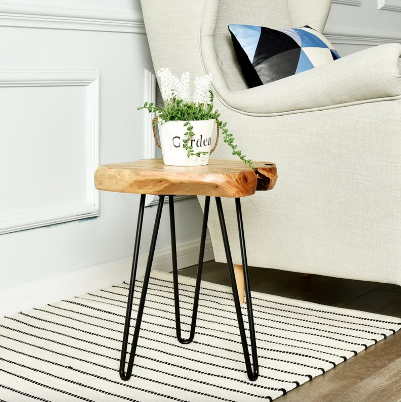 The end table made of wood with black metal hairpin legs holding a succulent plant