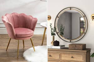 A pink velvet barrel chair on the left and a round industrial mirror on the right