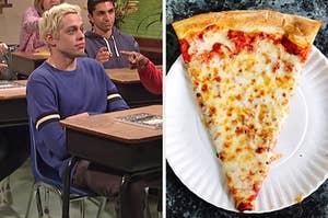 """On the left, Pete Davidson sitting at a desk with a composition book on it in an """"SNL"""" sketch, and on the right, a slice of cheese pizza on a plate"""