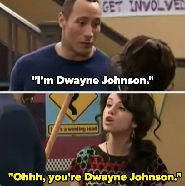 """Dwayne introduces himself and acting clueless, Selena/Alex says """"Ohhh, you're Dwayne Johnson"""""""