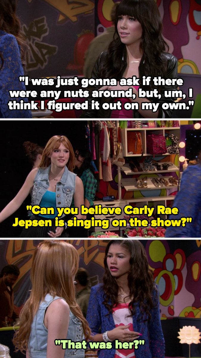 """Carly says she was going to ask if there were nuts around but figured it out herself. CeCe mentions Carly being there to Rocky and Rocky says, """"That was her?"""""""
