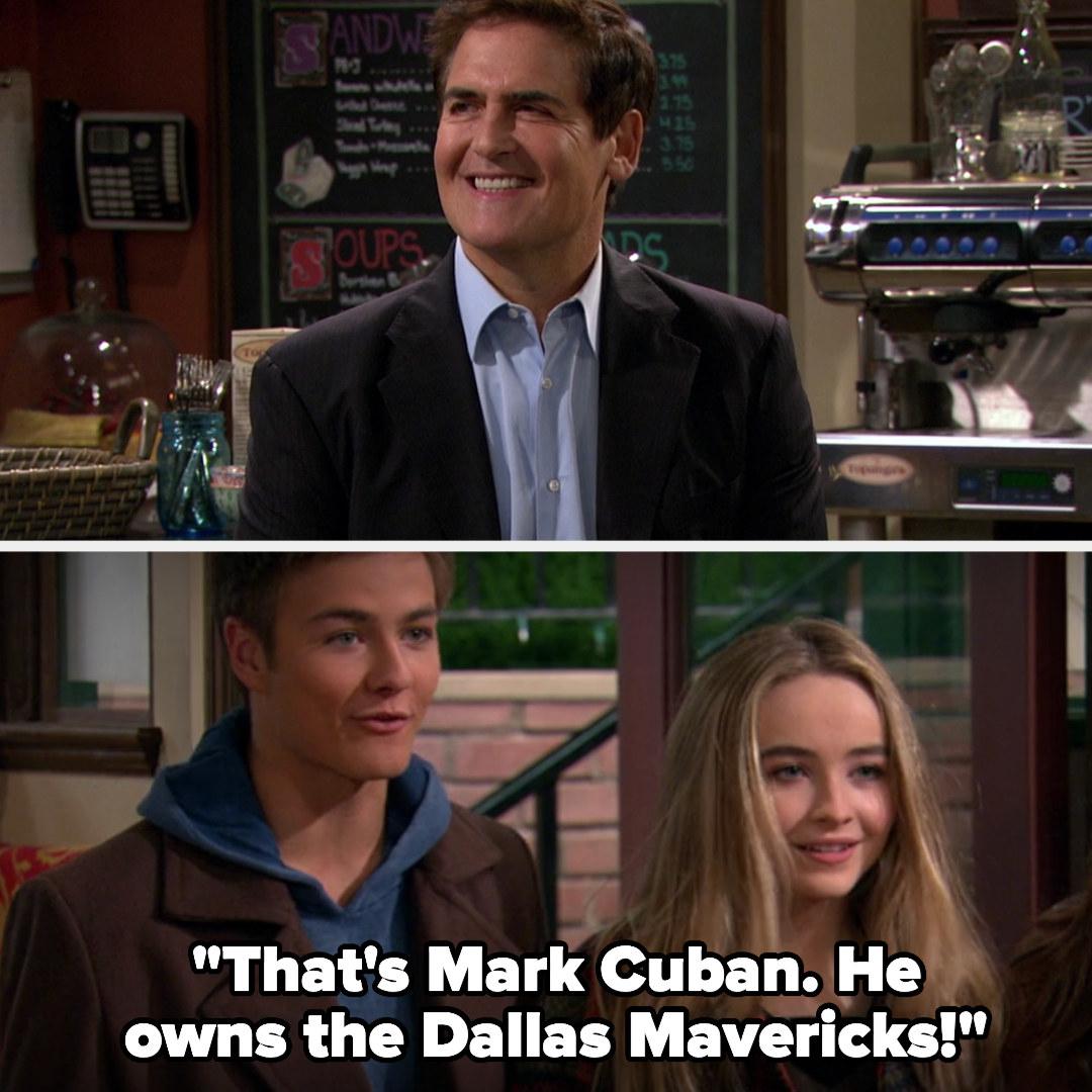"Mark Cuban smiling and Lucas says, ""That's Mark Cuban. He owns the Dallas Mavericks"""