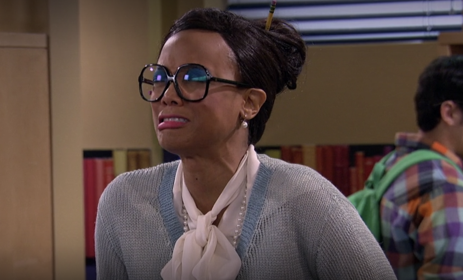 Tyra dressed as a librarian