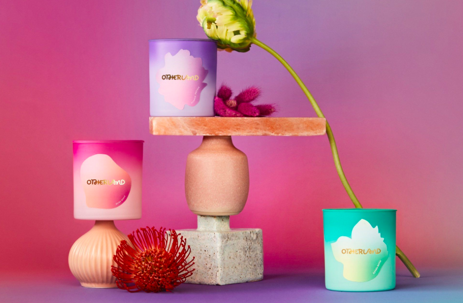 three candles with gradient design