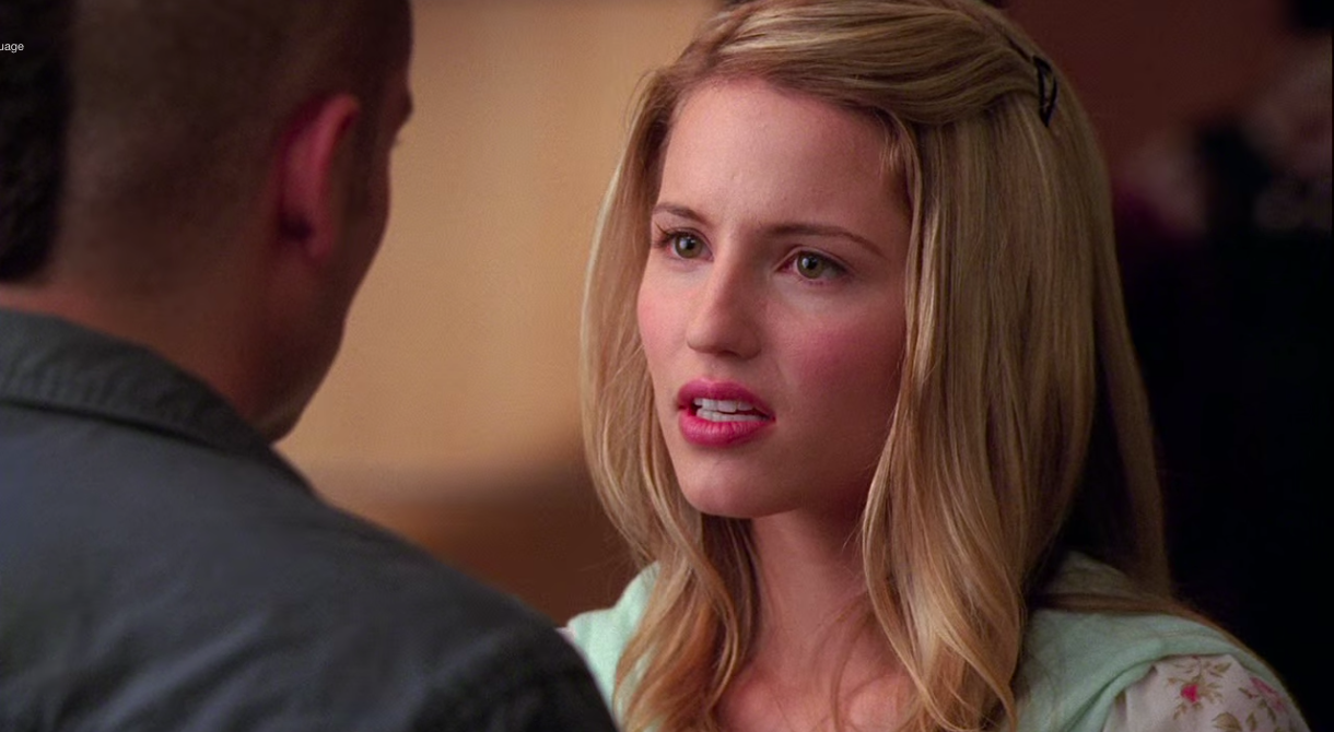 """Quinn talking to Puck in """"Glee"""""""