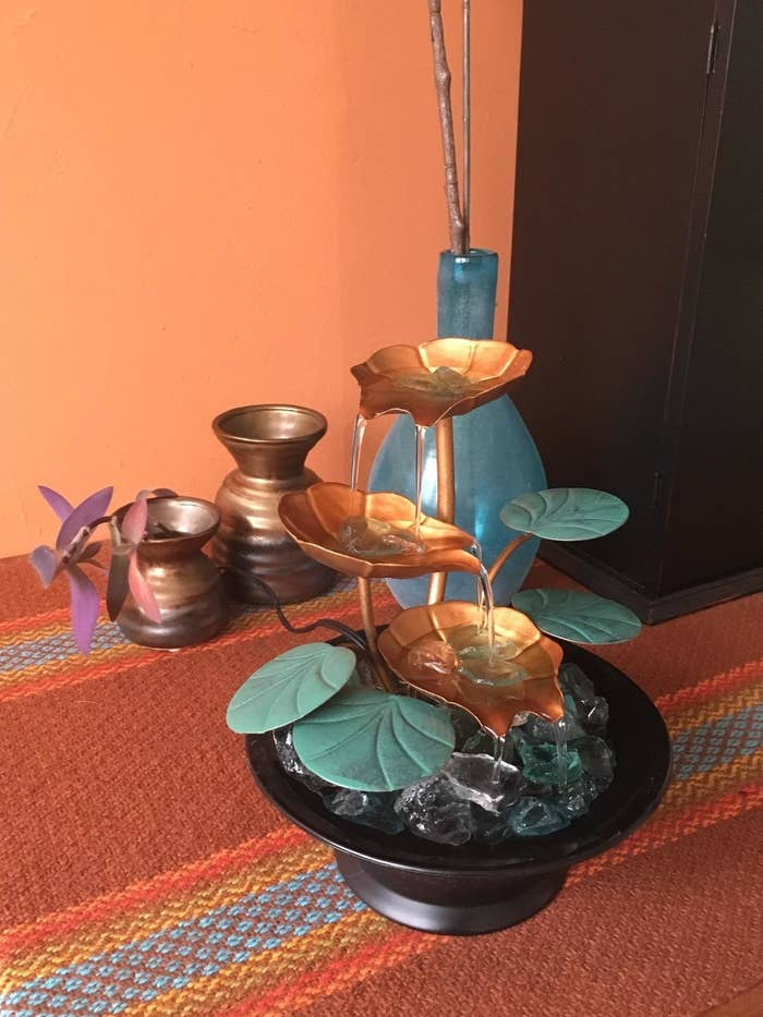 Reviewer photo of tabletop fountain placed on table