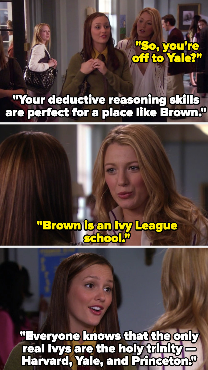 "Serena and Blair talking about Ivy League schools in ""Gossip Girl"""