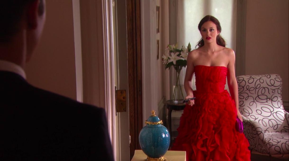 "Blair standing in her red gown in ""Gossip Girl"""