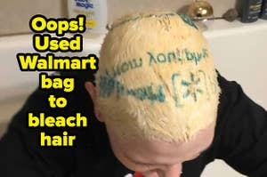 The walmart insignia is on someone's bleached hair because they used a walmart bag when bleaching