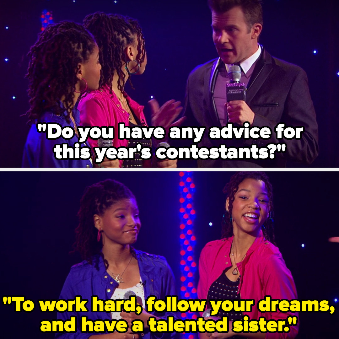 """host asks Chloe and Halle for advice for the contestants, and they said to work hard, follow your dreams, and """"have a talented sister"""""""