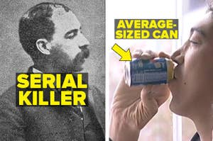 Famed serial killer HH Holmes and the tallest man in the world holding a regular sized can of pepsi
