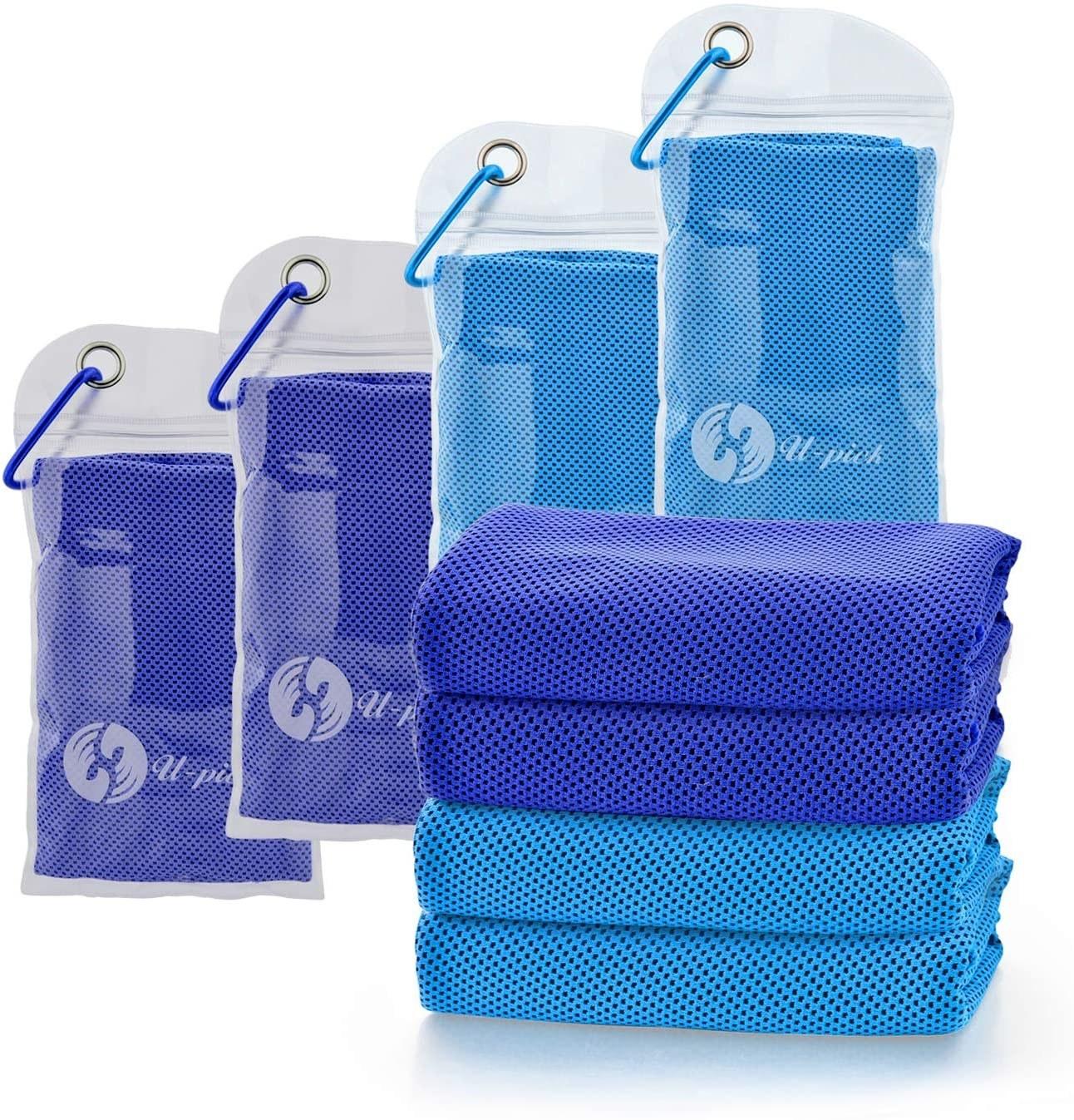 four packs of u-pick cooling towels and four folded u-pick cooling towels