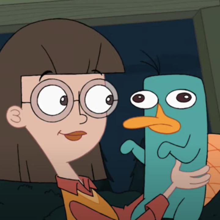 Dr. Doofenshmirtz's girlfriend holding Perry
