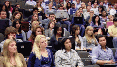 entire college class staring at professor