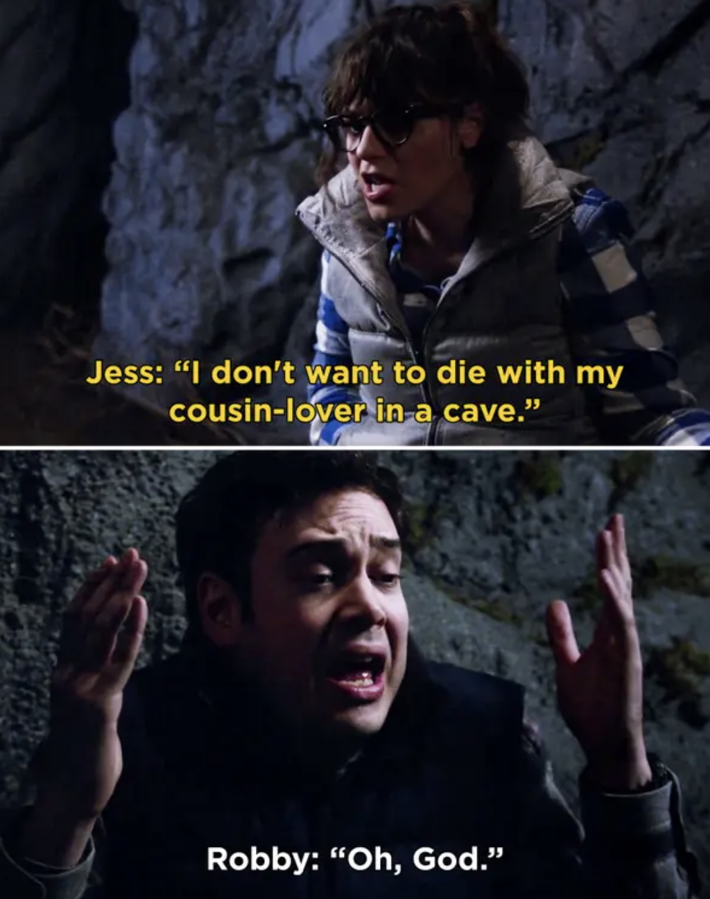 Jess and Robbie in a cave