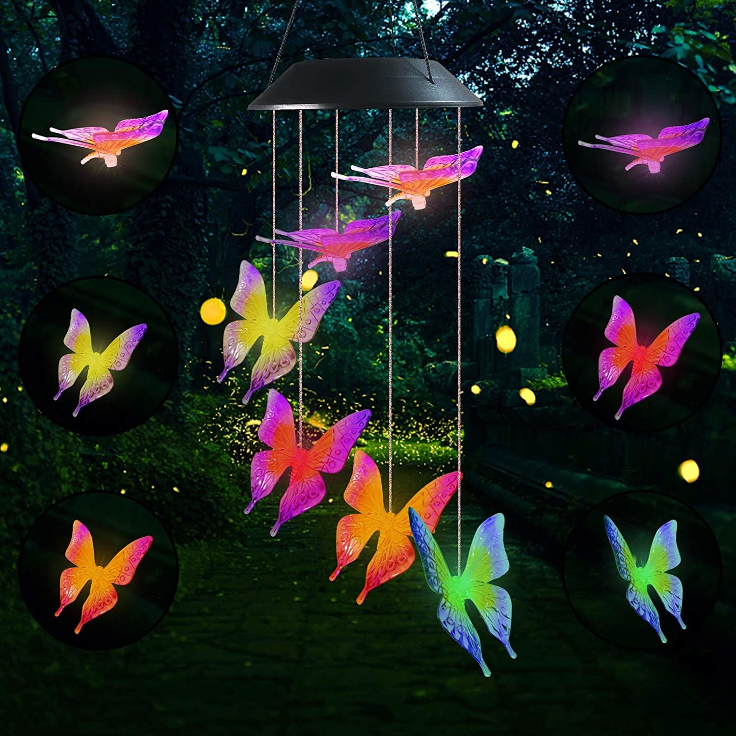 Six LED butterflies in different bright colors handing in a tiered circle from the base of a hanging wind chime