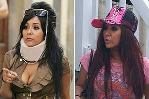 snooki looking tipsy and snooki with a neck brace