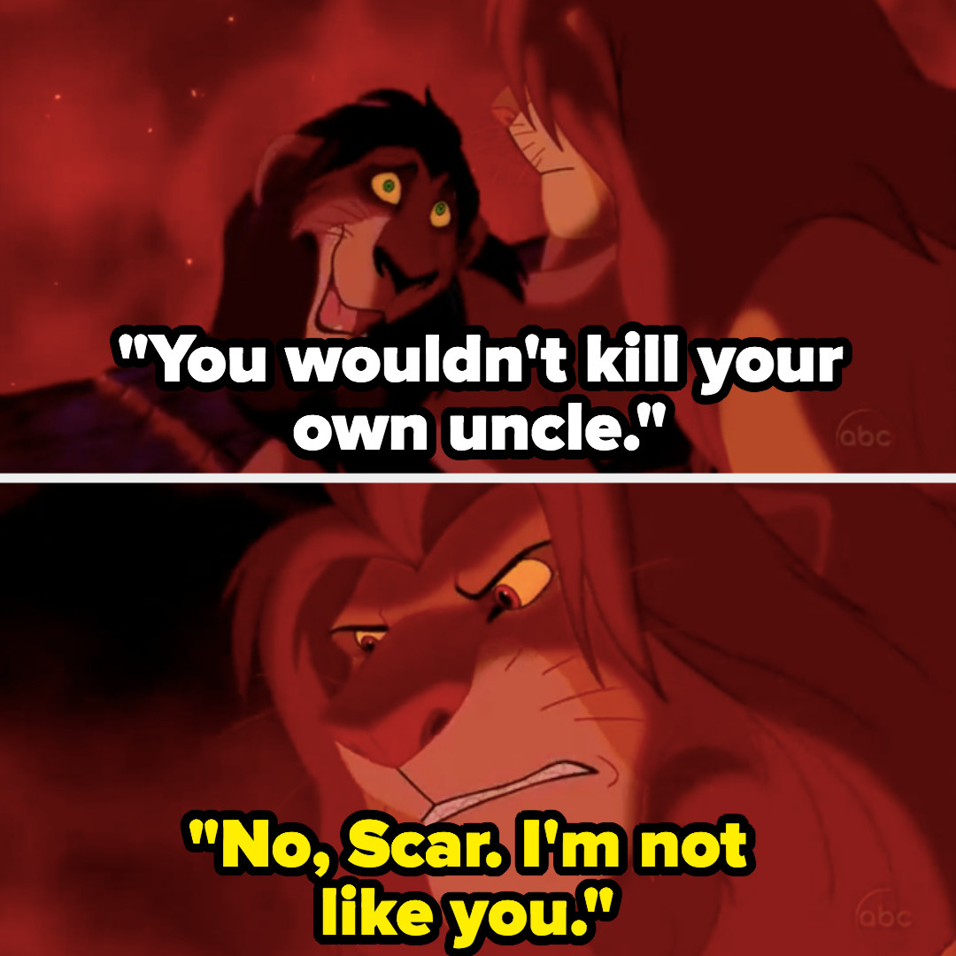 """Lion King"": Simba tells Scar he won't kill him because he's ""not like him"""
