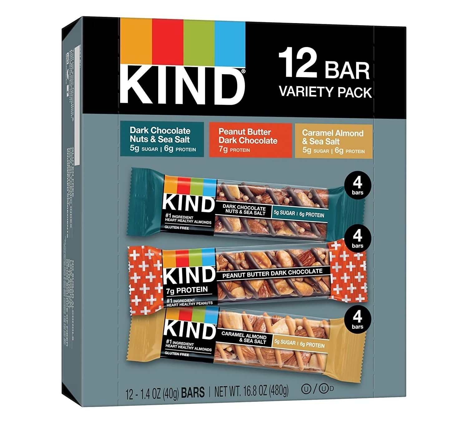 the box of bars with images of the three different included flavors on it