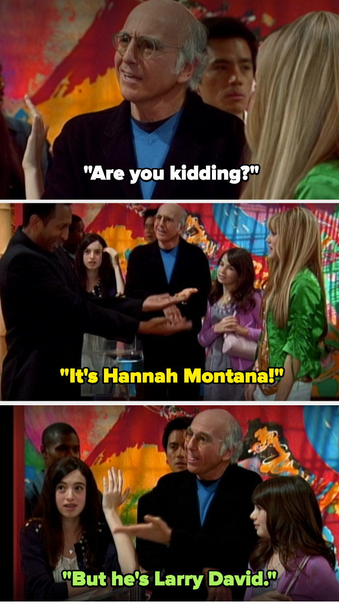 """Larry David says """"are you kidding to a restaurant host"""" after he seats Hannah and not him, with his daughter saying """"but he's Larry David!"""""""