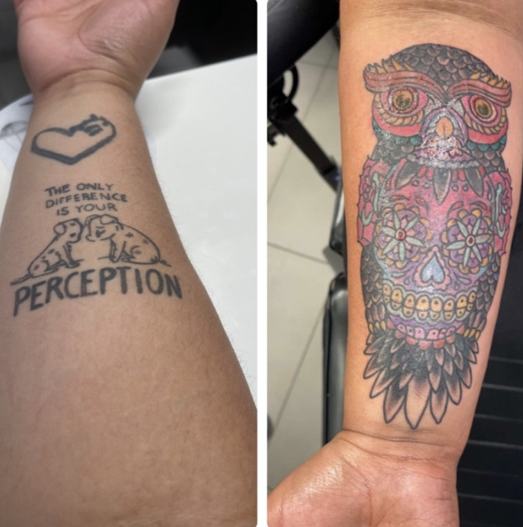 "A tattoo of heart with ""equality"" written inside and a cover-up of a colorful owl"