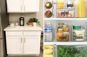 """white kitchen cabinets; clear bins inside fridge labeled """"sauces"""", """"cheese"""", and """"vegetables"""
