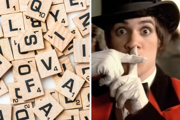 """Scrabble letters on the left and Brendan Urie in """"I Write Sins Not Tragedies"""" on the right"""
