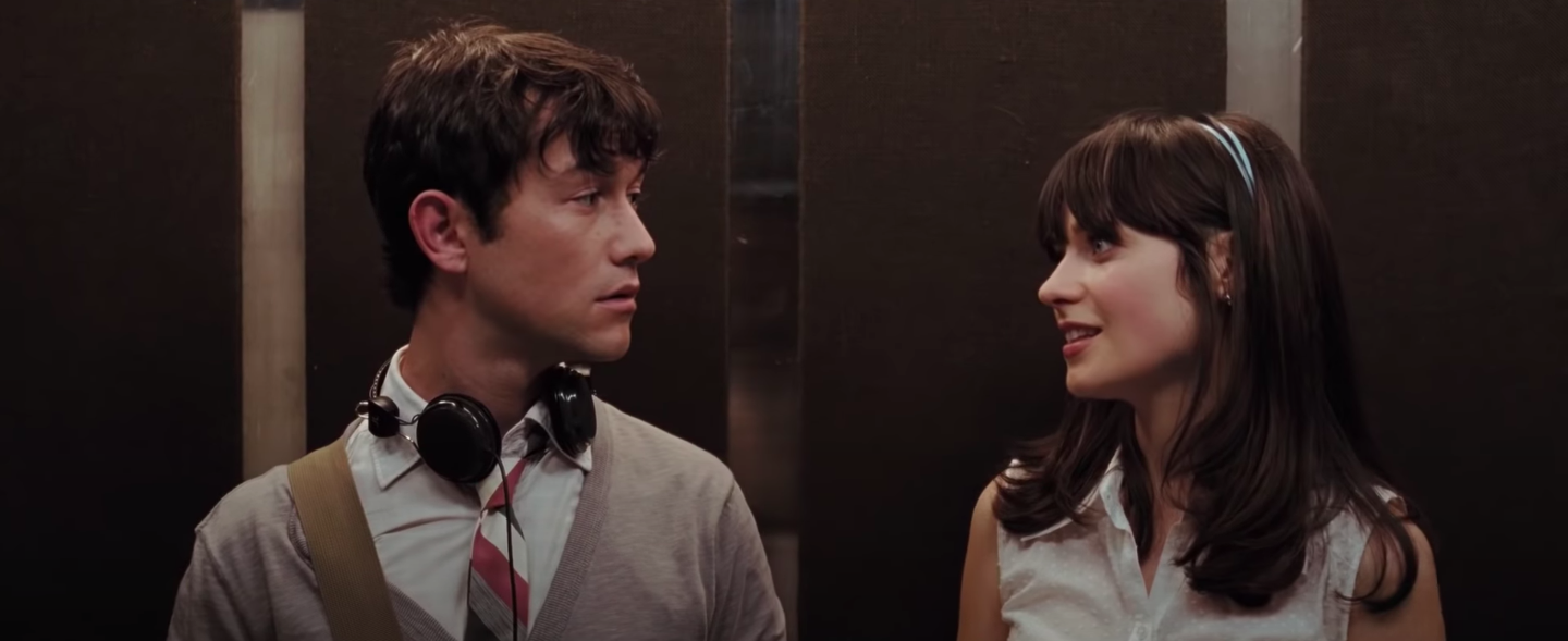 """Tom and Summer from """"500 Days of Summer"""" standing in an elevator"""