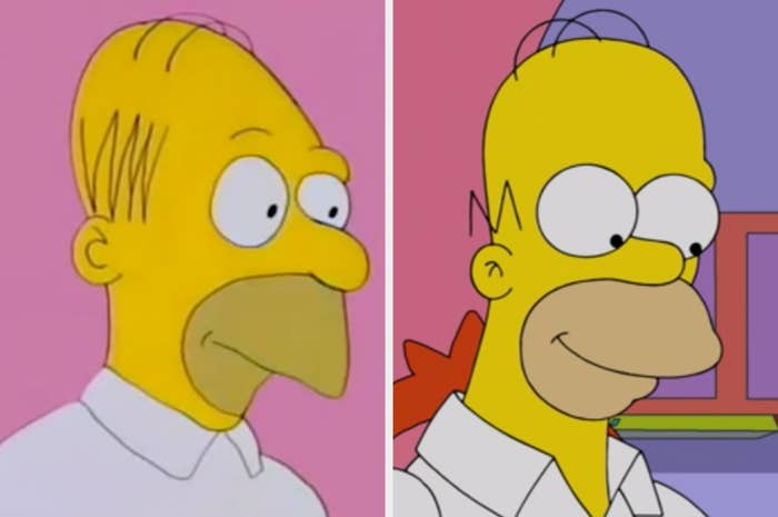 Homer Simpson in the first episode with a more rough and angular features vs Homer Simpson now with a rounder head and features