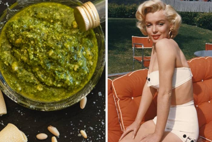 Pesto on the left and Marilyn Monroe on the right