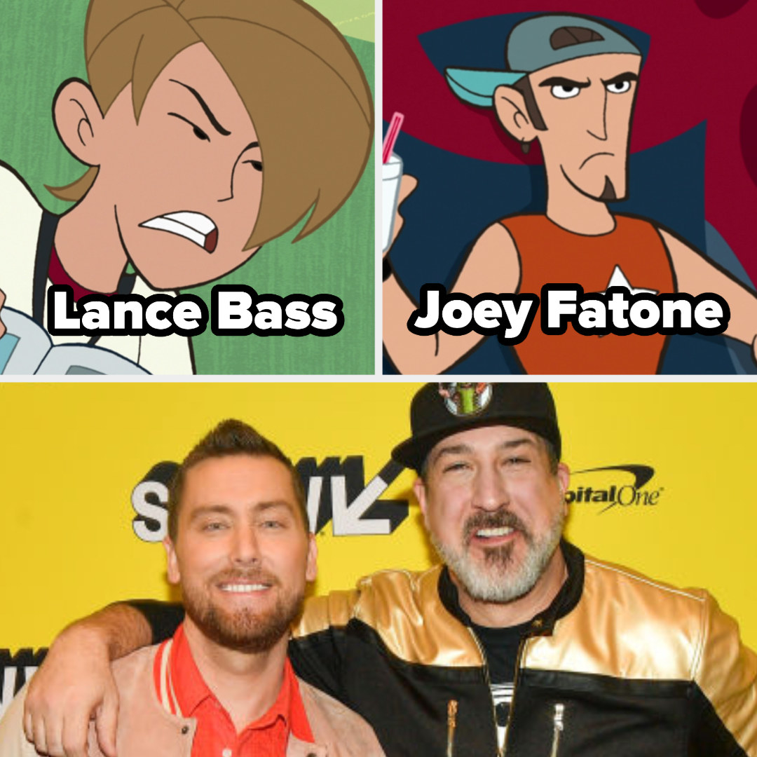 blonde cartoon character labeled Lance Bass and another labeled Joey Fatone then a picture of both of them on the red carpet together
